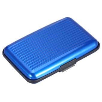6 Card Slots Checkbook Bank Credit ID Card Holder Button MiniOrganizer Case Wallet Blue - intl - 2
