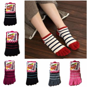 6pairs Five Toe Stripe Cotton Socks Finger Socks Breathable Assorted Colors for Men and Women