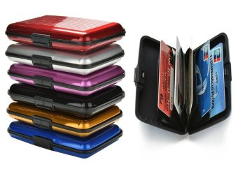 6pcs Mix Colors of Aluminum RFID Blocking Hard Case Security CreditCards Wallet