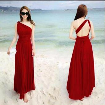 #728 Elegant Stretchable Infinity Maxi Dress (Red) Price Philippines