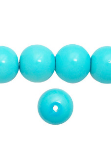 85pcs Round Glass Pearl Spacer Beads 10x10x10mm Turquoise