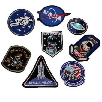 8pcs Iron-on or Sew-on Patch NASA Motif Applique GarmentEmbroidered Epaulette Badge for Bag Hat Jeans Jacket - intl Price Philippines