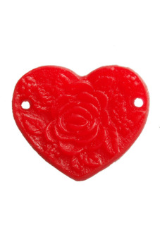 8pcs New Heart Peony Resin Flower Cabochons 15x13x1.5mm Red - picture 2