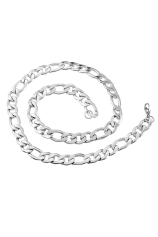 8YEARS B82755 Curb Chain Necklace (dull silver tone(not silver plated))