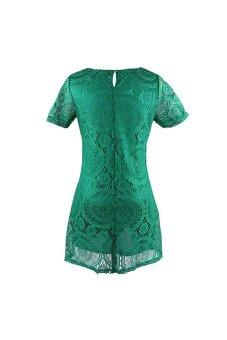 Acecharming Women Hollow Lace Crochet Short Sleeve Floral Party Mini Swing Dress Shirt Tops (Green) - Intl - 4