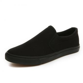 AD NK FASHION Men's Fashion Breathable Canvas Casual LoafersSlip-ons Flat Shoes(Black)AK139