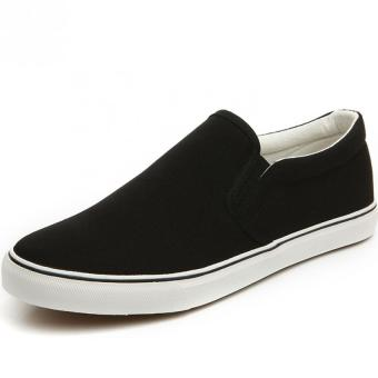 AD NK FASHION Men's Fashion Breathable Canvas Casual LoafersSlip-ons Flat Shoes(Black&White)AK139