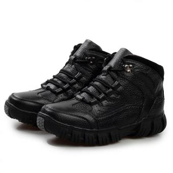 AD NK FASHION Men's Fashion Leather Safety Shoes WinterBoots(Black)AK186 - intl