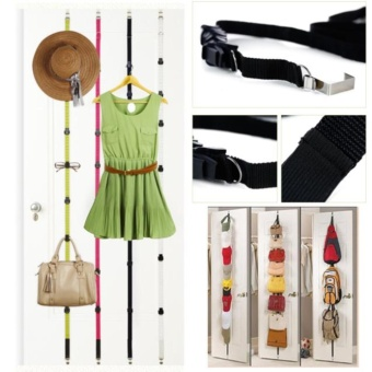 Adjustable Over Door Straps Hanger Bag Clothes Coat RackBagrackOrganizer 16 Hooks
