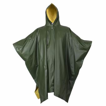 Adult 10 Mil Reusable Rain Wear Poncho Raincoat (Fatigue Green) Hood Heavy Duty