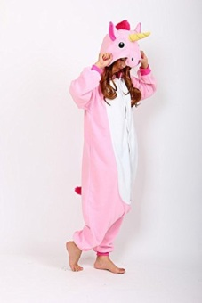 Adult Unisex Unicorn Animal Kigurumi Onesies Pajamas Cosplay Birthday Party Wear,Pink - 3