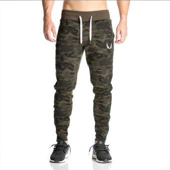 AE quick-drying breathable camouflage pants fitness pants (Camouflage green (Foot Mouth zipper))