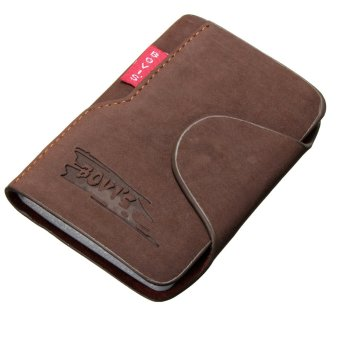 AEQUEEN Men Leather Business Credit Card Case ID Pocket Mini Wallet Holder Bag 20 Slots Light Coffee