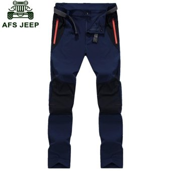 AFS JEEP Men's Pizex Waterproof Quick Drying Thin Breathable ParkaPant(Color:Dark Blue) - intl