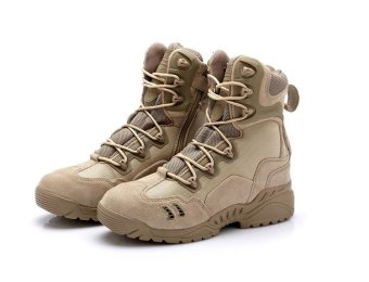 AFS Men's Outdoor Sport Army Combat Boots Travel Leather High-top Boots - khaki