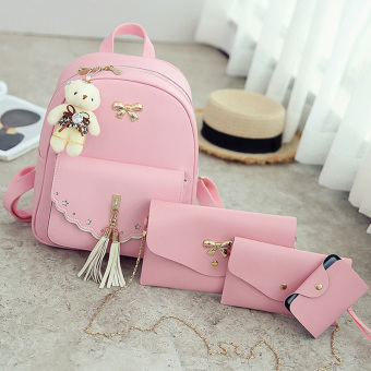 Ai Meng college style tassled travel can be Korean-style women's bag backpack ([MF1091 four sets of] Pink)