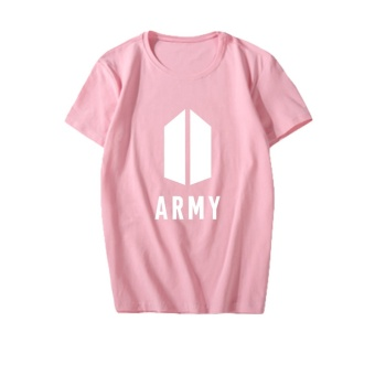 ALIPOP KPOP Korean Fashion BTS Bangtan Boys 2017 New Album AMRYLogo Cotton Tshirt K-POP T Shirts T-shirts PT553 ( ARMY Pink ) -intl