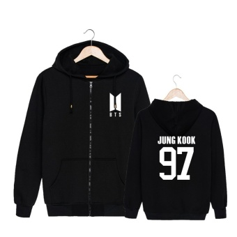 ALIPOP KPOP Korean Fashion BTS Bangtan Boys 2017 New Album LogoJUNG KOOK Cotton Zipper Autumn Hoodies Zip-up Sweatshirts PT551 (JUNGKOOK Black ) - intl