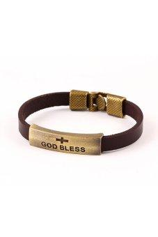 Alloy Lobster Cross Leather Vintage Bracelet (Brown)