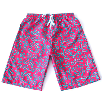 Also Meishan men and women quick-drying beach shorts swimming pants beach pants (Rose color-men)