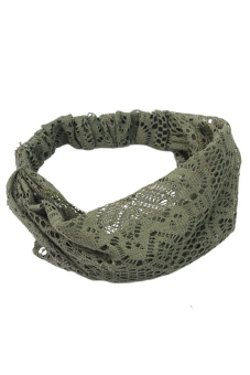 Amango Lace Headband Wide Bandanas (Dark Green)