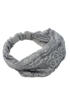 Amango Lace Headband Wide Bandanas (Grey)