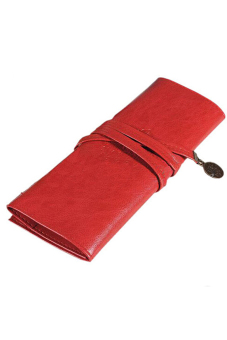 Amango Leather Make Up Cosmetic Pen Pencil Case Pouch Purse Bag Red