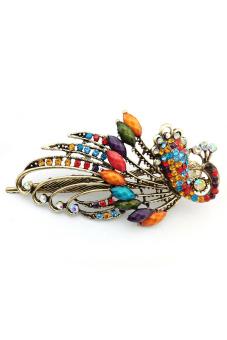 Amango Women Hair Clips Vintage Rhinestone Peacock Multicolor