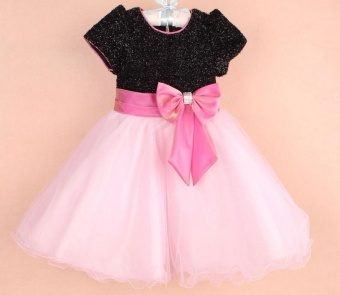 Amart Baby Kids Girls Pleated skirt Lovely Sequins Collar PageantBirthday Bow Princess Party Dress - intl Price Philippines