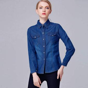 Amart Fashion Denim Shirt Women Long Sleeve Turn-Down Collar Blouse Jeans Shirts Tops