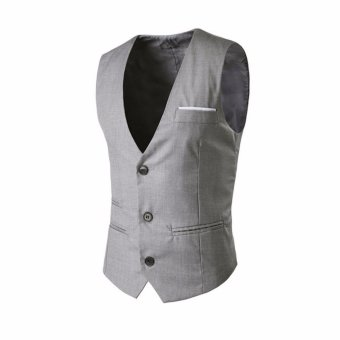 Amart Fashion Men Vest Formal Business Waistcoat Sleeveless SlimFit Suit Coat - intl - 2