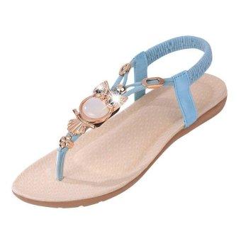 Amart Fashion Summer Women Sandals Owl Bead Comfortable Beach FlipFlops Flat Shoes(Blue) - intl - 2