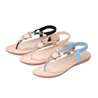 Amart Fashion Summer Women Sandals Owl Bead Comfortable Beach FlipFlops Flat Shoes(Blue) - intl - 4