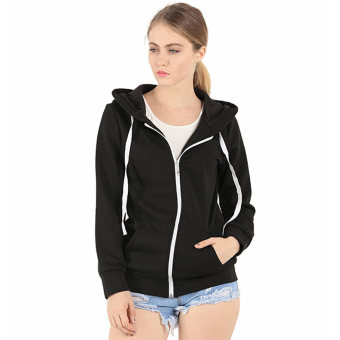 Amart Fashion Unisex Solid Zip Up Hooded Zipper Fleece Hoodies Sweatshirt Coat Tops