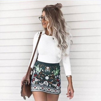 Amart Fashion Women High Waist Floral Printed Short A-Line BodyconZipper Mini Skirts - intl