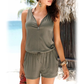 Amart Fashion Women Jumpsuit V Neck Sleeveless Solid Color ZippedSummer Beach Casual Romper Plus Size S-5XL(army green) - intl