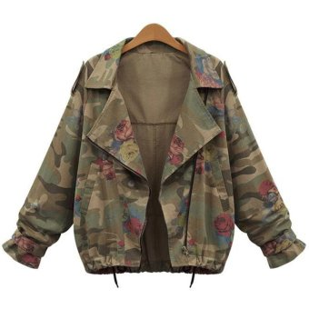 Amart Fashion Women's Camouflage Coat Zipper Jacket - Intl