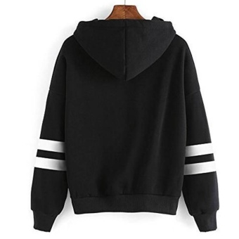 Amart Korean Simple Fashion Women Sweatshirt With Hat Drawstring Long Sleeve Striped Splicing Hoodies Pullover(Black) - intl - 2