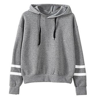 Amart Korean Simple Fashion Women Sweatshirt With Hat DrawstringLong Sleeve Striped Splicing Hoodies Pullover(Grey) - intl