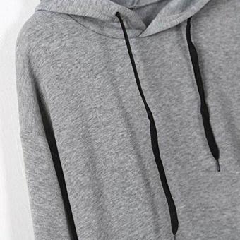 Amart Korean Simple Fashion Women Sweatshirt With Hat DrawstringLong Sleeve Striped Splicing Hoodies Pullover(Grey) - intl - 3