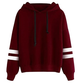 Amart Korean Simple Fashion Women Sweatshirt With Hat DrawstringLong Sleeve Striped Splicing Hoodies Pullover(Red) - intl