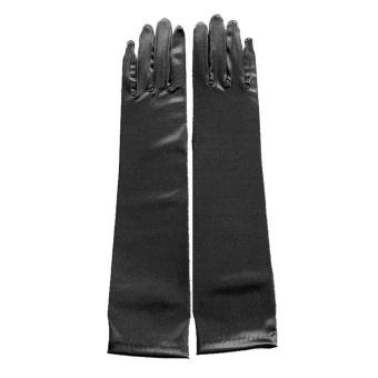 Amart Lady Long Party Bridal Dance Gloves Wedding Gloves Black - intl - 2