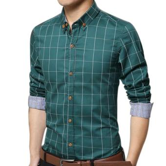 Amart Men's Long Sleeve Shirt Plaid Shirts Cotton Top Clothing(Green)