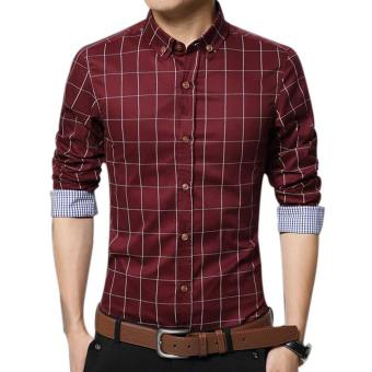 Amart Men's Long Sleeve Shirt Plaid Shirts Cotton Top Clothing(Red)