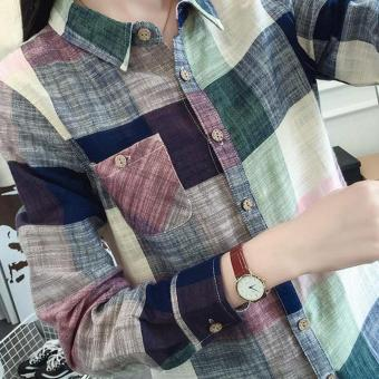 Amart New Fashion Women Plaid Blouse Casual Long Sleeve Cotton Linen Slim Fit Tops(Blue) - intl - 2