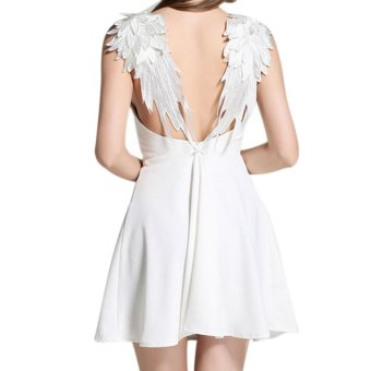 Amart Summer Fashion Women A-line Dresses Sexy Slim Dress Backless Lace Beach Strap Dresses - intl