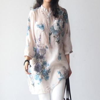 Amart Women Blouse Three Quarter Sleeves Flower Printed Loose Casual Tops - intl