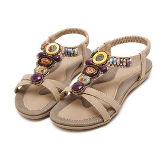 Amart Women Bohemia Style Sandals Bling Rhinestone Sandals FlatsBeaded Shoes Summer Shoes Apricot - intl