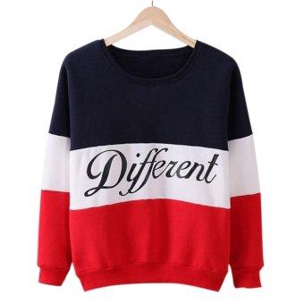Amart Women Long Sleeve O-neck Tops Pullover Tops Sweatshirt Hoodies Patchwork Fleece Tracksuits Tops(Blue+Red) - intl - 2