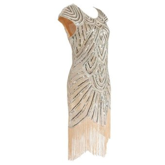 Amart Women Tassel Dress Vintage Fringe Evening Party Dresses (Beige) - intl - 2